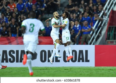 Mohammad Al-Sahlawi no.10(L) of Saudi Arabia in action during 2018 FIFA World Cup Qualifier Group B between Thailand and Saudi Arabia at the Rajamangala Stadium on March 23, 2017 in Bangkok,Thailand,