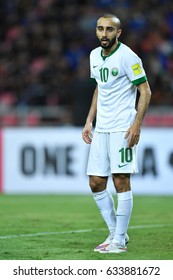 Mohammad Al-Sahlawi of Saudi Arabia in action during 2018 FIFA World Cup Qualifier Group B between Thailand and Saudi Arabia at the Rajamangala Stadium on March 23, 2017 in Bangkok,Thailand,