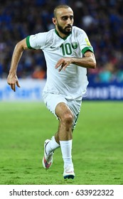 Mohammad Al-Sahlawi of Saudi Arabia in action during 2018 FIFA World Cup Qualifier between Thailand and Saudi Arabia at the Rajamangala Stadium on March 23, 2017 in Bangkok,Thailand,