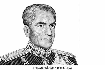 Mohammad Reza Shah Pahlavi. Portrait from Iran 1000 Rials 1974 Banknotes.