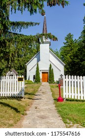 Mohawk Chapel in Brantford, oldest Anglican church in Ontario, constructed in 1785.