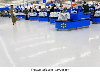 MOHEDAN LAKE, USA - FEBRUARY 2: interior of WalMart department store in Mohegan Lake, USA on February 2,2010. WalMart is world third largest public corporation according to Fortune Global 500 in 2012