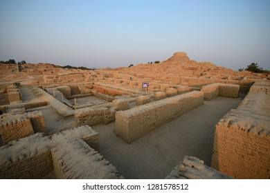 Mohenjo daro before sunset time ,  is an archaeological world heritage UNESCO site in the province of Sindh, Pakistan