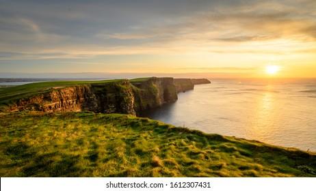 Moher cliffs and atlantic ocean in Ireland