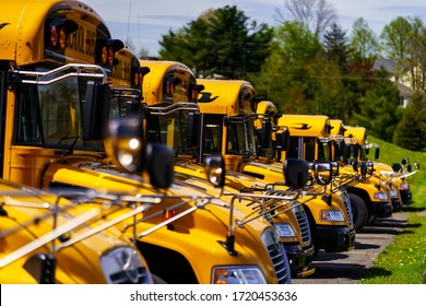 Mohnton, PA / USA - May 2, 2020: A line of parked school buses in a parking lot in Berks County, Pennsylvania.