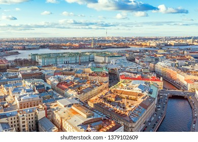 Moika River in St. Petersburg, view of Hermitage Palace Square, Peter and Paul Fortress