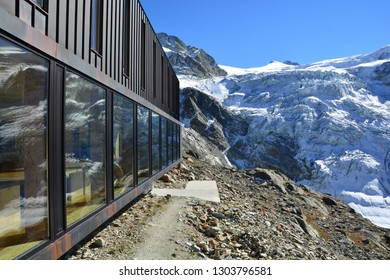 The Moiry Mountain Refuge in the Val d'Anniviers Switzerland, looking out over the Moiry Glacier