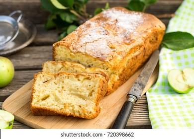 Moist fluffy sweet apple cake, rustic style