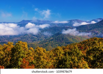 Moisture rises from layered, mountain range.  Scenic from Black Rock,State Park, Georgia.