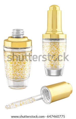 Moisturizing Antiageing Facecare Serum Gold Particles Stock