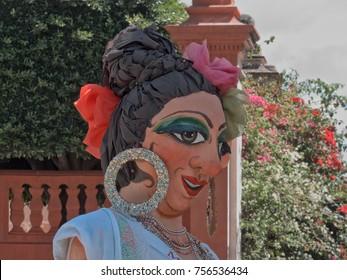 Mojiganga Posing on Front of the Parroquia de San Miguel Arcangel, San Miguel de Allende, Guanajuato/ Mexico - September 08 2015