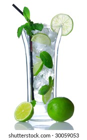 Mojito cocktail in double-wall glass isolated on white