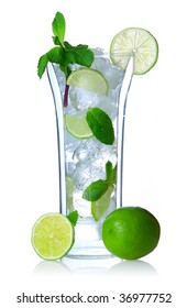 Mojito cocktail in double-wall glass isolated on white. Soft reflection.