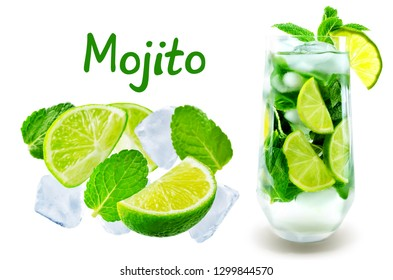 Mojito cocktail  with fresh mint leaves and lime slice isolated. toning. selective focus