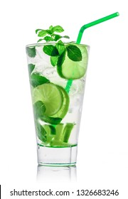 Mojito cocktail glass, isolated on white background.