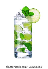 Mojito cocktail in glass isolated on white background