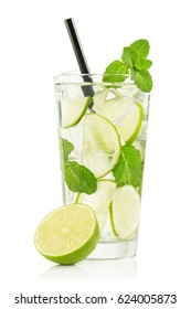 mojito cocktail in a glass isolated on white background