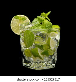 mojito cocktail isolated on black background