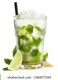 Mojito Cocktail with Lime and brown Sugar on white Background