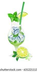 Mojito cocktail with lime, ice and mint isolated on a white background. Modern illustration for fresh alcohol cocktail Mojito.