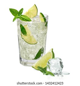 Mojito cocktail with lime isolated on white background