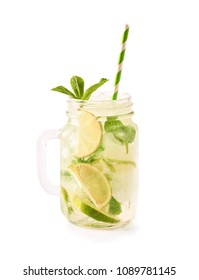 Mojito cocktail with lime and mint in glass jar isolated on white background