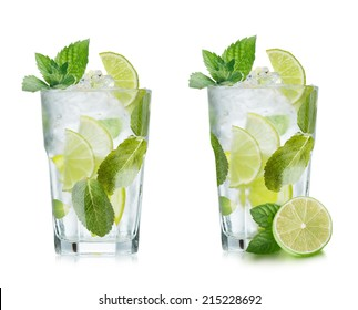 Mojito cocktail with lime and mint in highball glass. Set of isolated mojitos