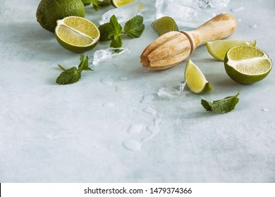 Mojito cocktail or limeade ingredients lying down the table, drink recipe culinary concept with blank space for a text