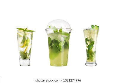 Mojito cocktail with mint and lime in a highball glass. Set of mojito on a white background. Isolated.