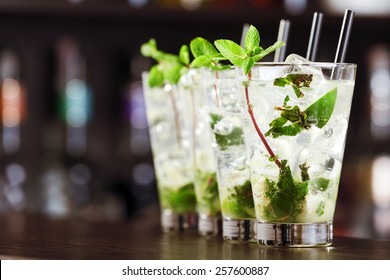 Mojito cocktail on a bar counter