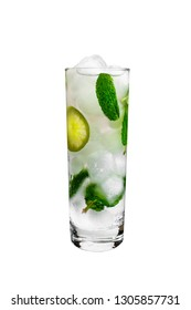 Mojito cocktail on a white background. Cold drink, alcohol isolated on white