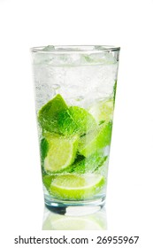 Mojito cocktail over white with reflection