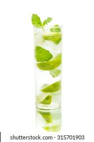 mojito coctail on a mirror, isolated on white background