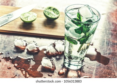 Mojito is a cool cocktail. Cooking and serving