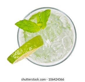 Mojito drink from top view, isolated on white background