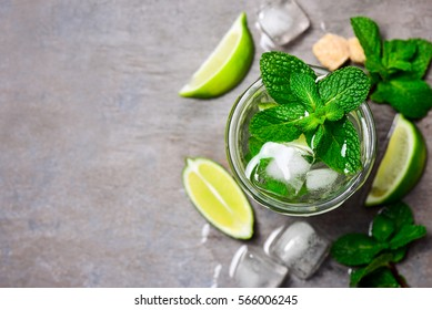 Mojito in a glass, top view, space for a text