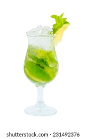 Mojito green cocktail isolated with clipping path on white background