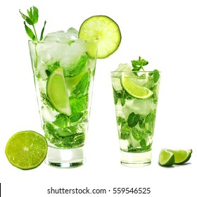 mojito isolated on white background. Three glasses of mojito.