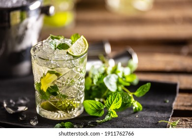 Mojito or virgin mojito long rum drink with fresh mint, lime juice, cane sugar and soda.