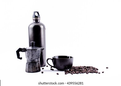 Moka pot Espresso pot and coffee beans with black Bottle cup and  isolated on white background
