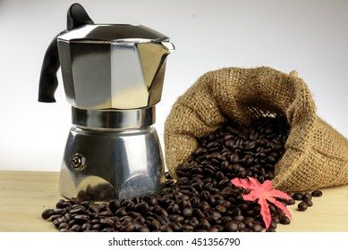 moka pot Espresso pot and coffee beans