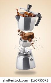Moka pot. Italian retro coffee maker