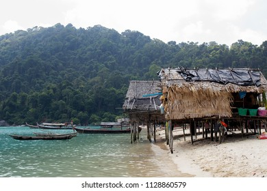 Moken wooden village at surin island, Thailand