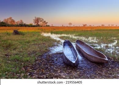 Mokoro boats on sunrise,Okavango delta, Botswana