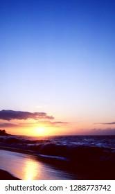 Mokuleia Beach, sunset, North Shore, Oahu, Hawaii,  USA