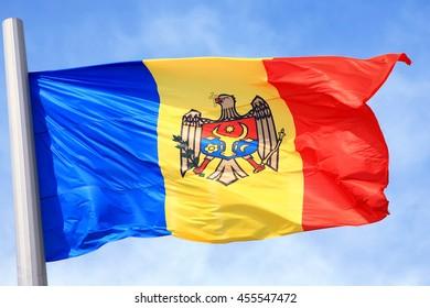 The Moldavian flag against the blue sky
