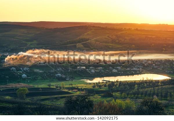 Moldavian village in the morning
