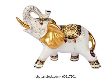 molded elephant white figure that have Thai design on white background ,