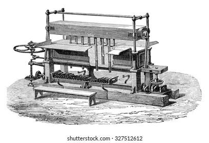 Molding machine Popelin-Ducarre, vintage engraved illustration. Industrial encyclopedia E.-O. Lami - 1875.