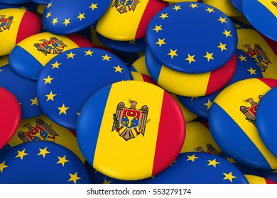 Moldova and Europe Badges Background - Pile of Moldovan and European Flag Buttons 3D Illustration